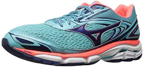 Mizuno Women's Wave Inspire 13 Running Shoes, Blue Radiance/Blueprint/Fiery Coral, 6 B US