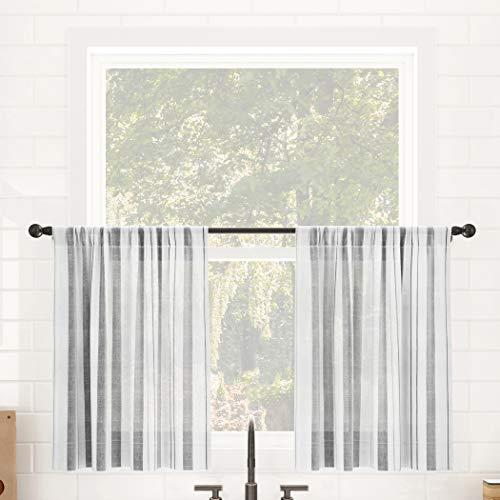 "Clean Window Vintage Stripe Anti-Dust Allergy/Pet Friendly Sheer Cafe Curtain, 50"" x 36"" Kitchen Tier Pair, Gray"