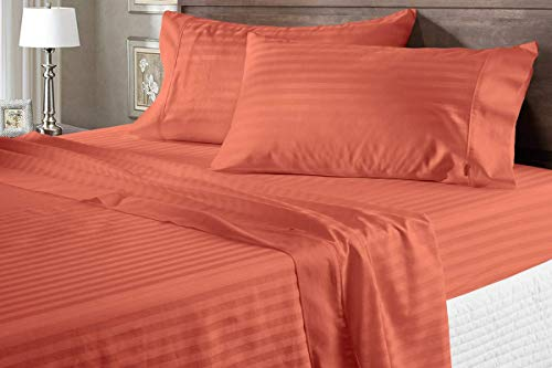 Luxury Twin Size Brick Red Stripe Sheets - 400 Thread Count 100% Cotton Sheet Set - 4 Piece Set Long-Staple Combed Pure Natural Cotton Bedsheets, Fits Mattress Upto 15'' Deep Pocket