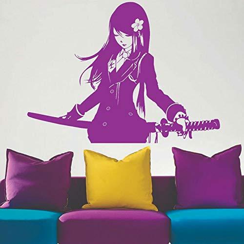 Cartoon Comics Manga Anime Akame Ga KILL Samurai Schulmädchen Katana Schwerter Akai Wandaufkleber Vinyl Kunst Aufkleber Fans Schlafzimmer Wohnzimmer Home Decor Wandbild