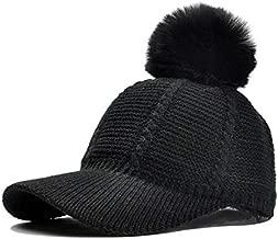 Knit Baseball Cap Hat - Winter Visor Billed Warm Soft Pom Poms Hats Caps for Women Men