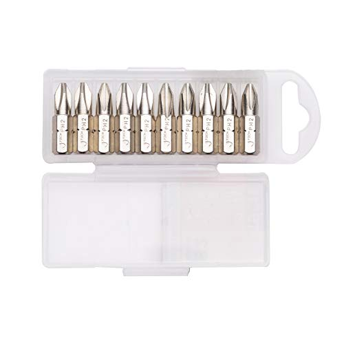 Jetech PH2 25mm Phillips Screwdriver Bits (10 Pack) - 1 inch Nickle Plated Heat Treated S2 Alloy Precision Bits with Case