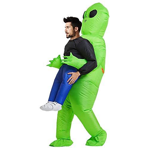 SurfMall Disfraz Inflable de Alien Verde para Fiesta de Halloween, L-Adult