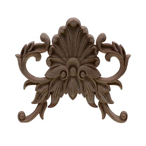 Timesens Vintage Wood Carved Corner Onlay Applique Frame Doors Wall Decorate Furniture Decorative Figurines Wooden Miniatures Home 16cmX145cm