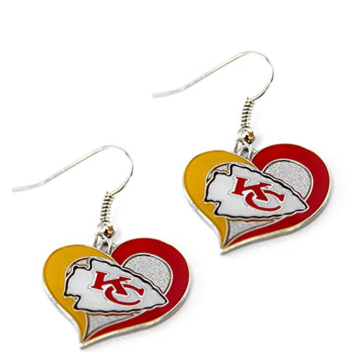 NFL Kansas City Chiefs Swirl Heart Earrings