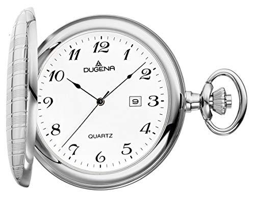 DUGENA Quarz-Taschenuhr – Zeitloses Accessoire für KULTIVIERTE Herren – Verchromtes, poliertes Sprungdeckelgehäuse – Inklusive Kette (Ø 50 x 14 mm) – C335316