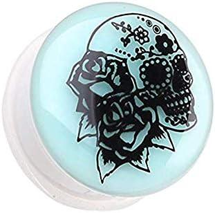 Covet Jewelry Glow in The Dark Rose Sugar Skull Single Flared Ear Gauge Plug 3 4 19mm product image