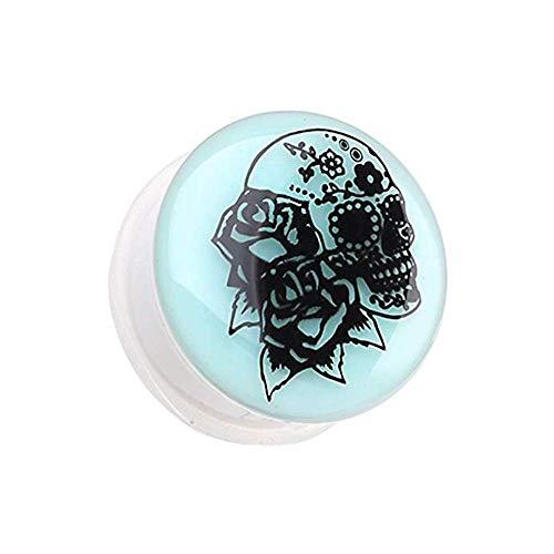 Covet Jewelry Glow in The Dark Rose Sugar Skull Single Flared Ear Gauge Plug (0 GA (8mm))