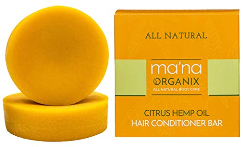 Ma'na Organix – All Natural Citrus Hemp Oil Hair Conditioner Bar with Ecofriendly and Biodegradable Packaging (3 oz.)