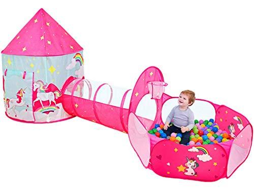 Benebomo Tienda de campaña para niños y túnel emergente,Juego de Tienda de campaña para niños 3 en 1 Plegable Unicornio,túnel de Bolas para niños pequeños,casa de Juegos para jardín para niños
