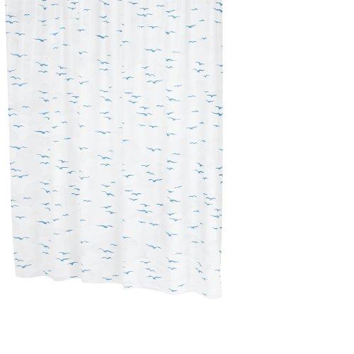Ridder 32313S-350 Sylt Rideau de Douche Bleu 180 x 200 cm + Anneaux Plastique