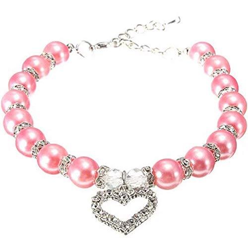 Supersnailman Dog Love Heart Pendant Faux Pearls Collar Necklace Rhinestones Pet Puppy Jewelry