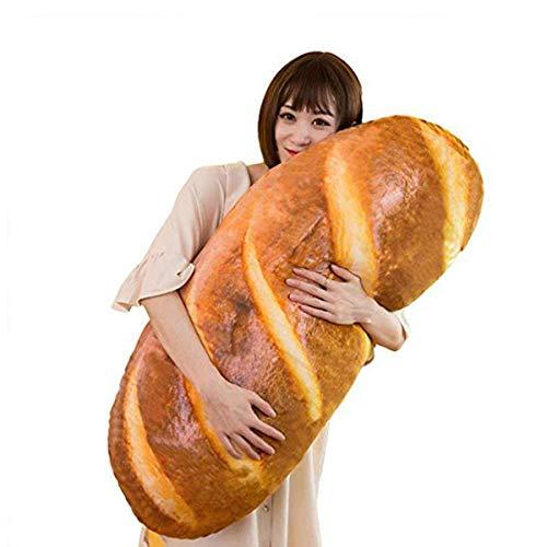 Divertida almohada de felpa, suave en forma de pan 3D, cojín de juguete, cojín lumbar para la espalda, bonito regalo kawaii para decoración del hogar (80 cm, amarillo)