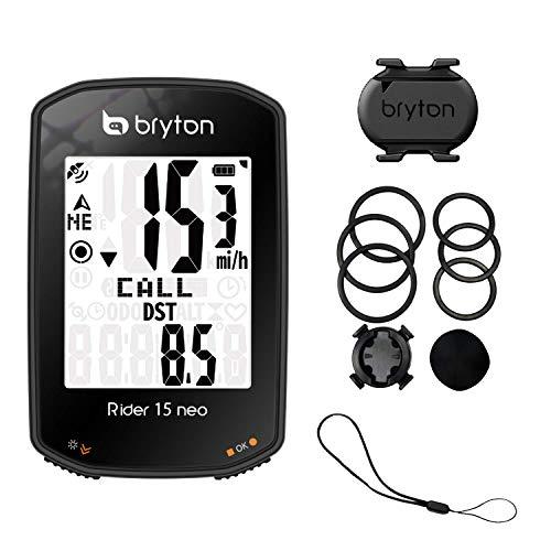 Bryton Rider 15 Neo C, Ciclo Computer GPS, Display da 2' con Sensore di Cadenza ANT+/Bluetooth, Nero
