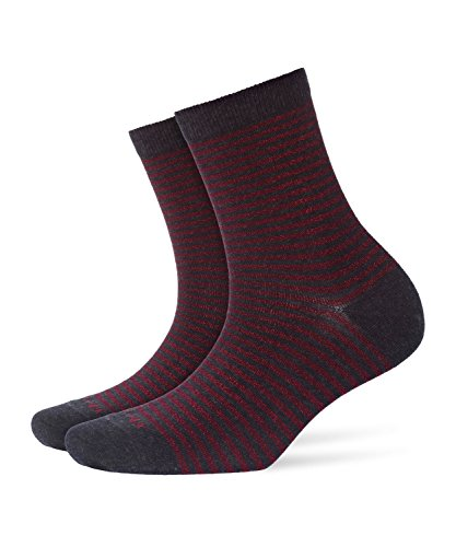 BURLINGTON Damen Socken Ladywell Ringlet, Baumwollmischung, 1 Paar, Grau (Anthracite Melange 3082), Größe: 36-41