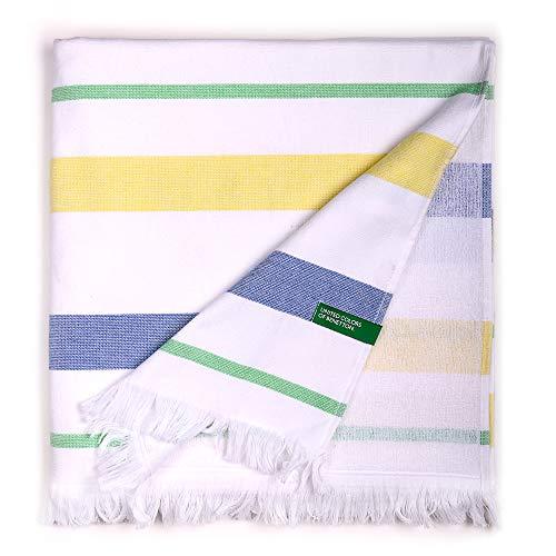 UNITED COLORS OF BENETTON, Hamman 80x165cm 350gsm 100% algodón azul/amarillo Casa Benetton, 80x165