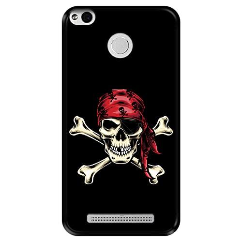 Hapdey Funda Negra para [ Xiaomi Redmi 3 Pro - 3s Prime ] diseño [ Calavera Pirata ] Carcasa Silicona Flexible TPU