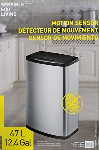 EKO - [CW2236MT-47L 47L/12.4G Fingerprint-Resistant Stainless Steel Motion Sensor Trash Can