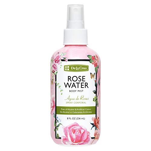 rose waters De La Cruz Rose Water Spray, No Parabens or Artificial Colors, Vegan, Made in USA 8 FL. OZ. (1 Bottle)