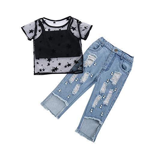 Toddler - Conjunto de 3 camisetas de manga corta para bebé con cuello redondo, transparentes, pantalones vaqueros y pantalones