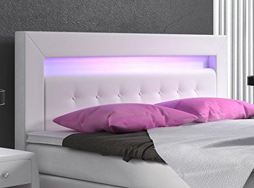 Boxspringbett 140×200 Weiß mit Bettkasten LED Kopflicht Hotelbett Polsterbett Venedig - 3