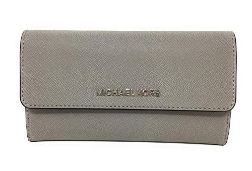 Michael Kors Jet Set Travel Large Trifold Leather Wallet (Pearl Grey/Black)