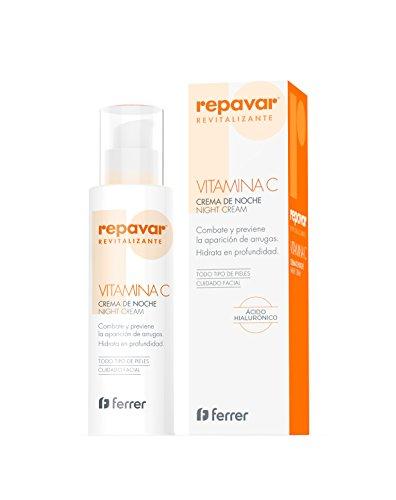 Repavar Revitalizante Crema de Noche. Crema hidratante antiedad enriquecida con vitamina C y ácido hialurónico. 50 Ml
