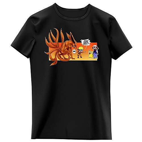 T-Shirt Enfant Fille Noir Parodie Naruto - Pokémon - Naruto, Kyubi X Sasha et Pikachu - Un Nouveau dresseur. (T-Shirt Enfant de qualité Premium de Taille 5-6 Ans - imprimé en France)