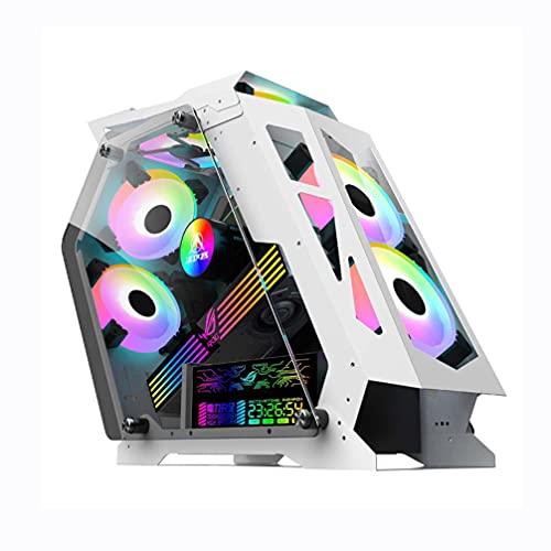 M-ATX Gaming PC Funda, Paneles de Vidrio Templado Chasis de computadora, Caja de la Torre de computadora Abierta - USB3.0 - Sistema de refrigeración - Flujo de Aire - Administración de Cables,Blanco