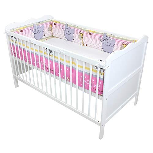 TupTam Babybett Bettumrandung Lang Gemustert, Farbe: Imagine Rosa, Größe: 360x30cm (für Babybett 120x60)