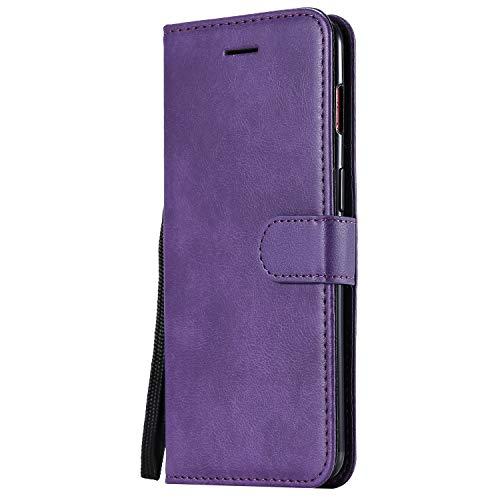 Hülle für OnePlus 7 / 6T Hülle Leder,[Kartenfach & Standfunktion] Flip Case Lederhülle Schutzhülle für OnePlus7 / Oneplus6T - EYKT051515 Violett