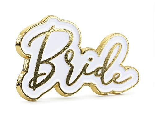 Miss Lovely Button Pin Anstecker Anstecknadel Bride in weiß & Gold für Junggesellinnen-Abschied JGA-Party Frau-en Accessoires Hochzeit Hochzeit-s-Dekoration Hen Party-Zubehör Deko Braut