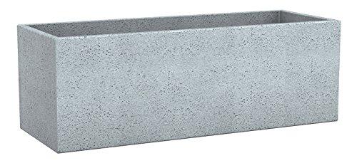 Scheurich C-Cube Long, Pflanzgefäß aus Kunststoff, Stony Grey, 80 cm lang, 29 cm breit, 27 cm hoch, 38 l Vol.