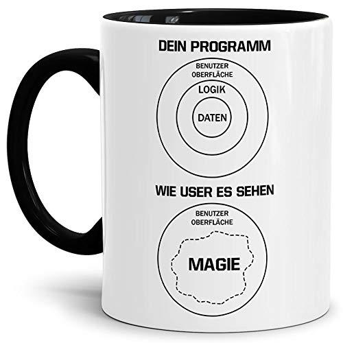 Berufe-Tasse für Programmierer Dein Programm und wie User es sehen #Farbe# / Job/Tasse mit Spruch/Kollegen/Arbeit/Fun/Mug/Cup/Geschenk/Beste Qualität - 25 Jahre Erfahrung Innen & Henkel Schwarz