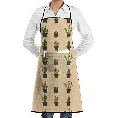 Drempad Premium Unisex Schürzen, Bib Apron Pockets Cactus Potted Plant Durable Cooking Kitchen Aprons for Men Women
