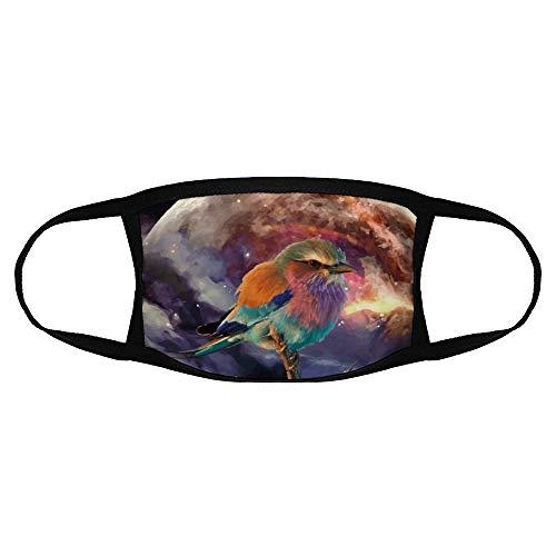 Kinderen Gewone Masker Vogel Illustratie Schilderen Kunst Veer Astronomische Object Roller kleur2 Een sizeFace Cover