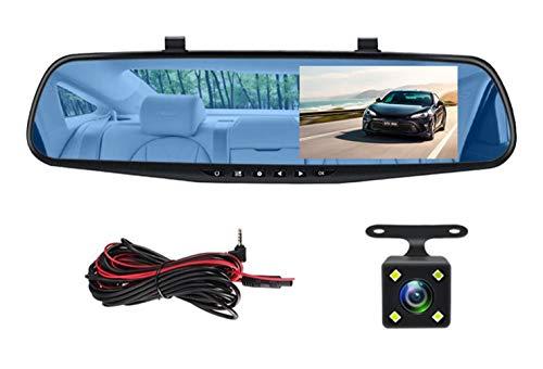 POKAR Mirror Dash CAM 4.3 Pulgadas Full HD 1080P, Cámara Delantera de Gran ángulo de 170° y cámara Trasera Impermeable, cámara de Coche con grabación de Emergencia