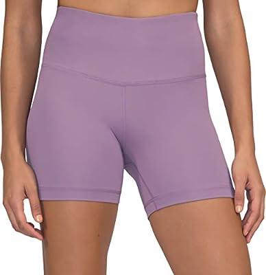Yogalicious Ultra Soft Lightweight Hi Rise Shorts - High Waist Yoga Shorts - Plum Shadow - XS