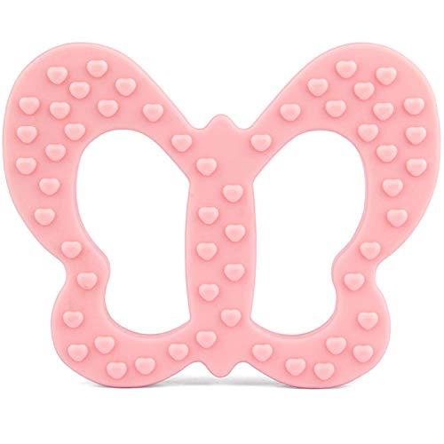 PREMYO Schmetterling Beißring für Babys Kühlend - Zahnungshilfe aus Silikon BPA Frei Weich - Lindert Schmerzen beim Zahnen - Rosa