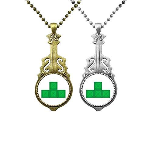 Klassische Spiele Tetris Green Block Liebhaber Musik Gitarre Anhänger Schmuck Halskette Anhänger