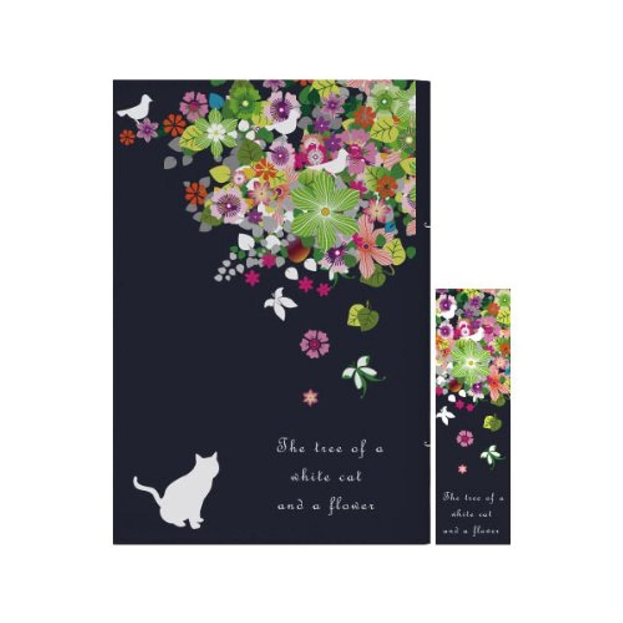 ホステスニュージーランド入学するブックカバー 文庫判 文庫 撥水機能 しおり付き 1879白猫と花の木 ネイビー
