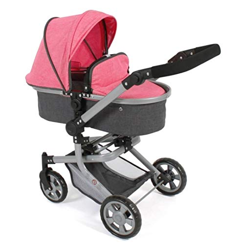 Bayer Chic 2000 595 41 Kombi-Puppenwagen Mika, Melange anthrazit-pink