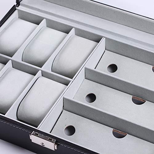 LessLIFE Titular de gafas, Multi-rejillas PU cuero reloj almacenamiento caja joyería pulsera caso gafas organizador