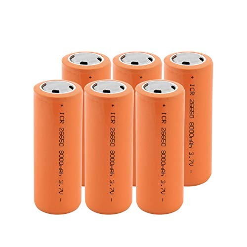 RitzyRose Batería de iones de litio de 3,7 V, 8000 mAh, 26650, baterías recargables, apta para linterna eléctrica, 6 unidades