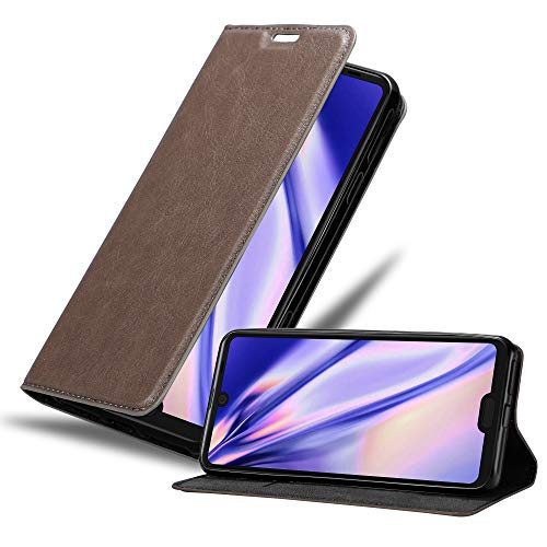 Cadorabo Book Case Works with Sharp Aquos R3 in Coffee Brown - with Magnetic Closure, Stand Function and Card Slot - Wallet Etui Cover Pouch PU Leather Flip