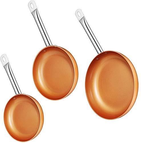 SARTEN Cuadrada Cacerola Ceramica Cobre Anti ADHERENTE con Tapa Accesorios FREIR