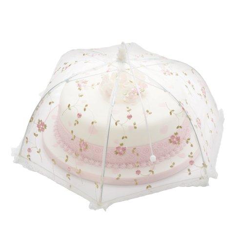 Kitchen Craft KCCOVFLOLRG 35 cm Sweetly Does It Vintage Rose Umbrella Cake Cover, Polyester, Blanc