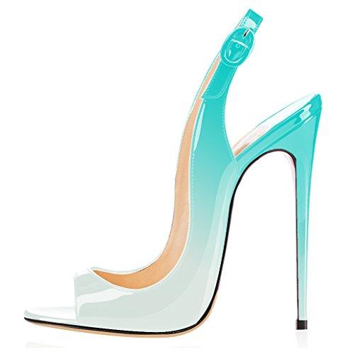 elashe Damen Knöchelriemchen Lackleder Pumps | Peep Toe Stiletto 12CM Sandalen | Slingback Hochzeit Schuhe Hellgrün EU45