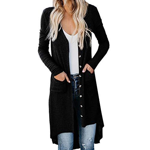 FRAUIT Cardigan Donna Cotone Leggero Giacca Elegante Lunga con Bottoni Giacche Tumblr Ragazza Lunghe Maglione Lungo Aperto Maglioni Lunghi Eleganti Maglieria Sweatshirt Felpa Cappotto Parka