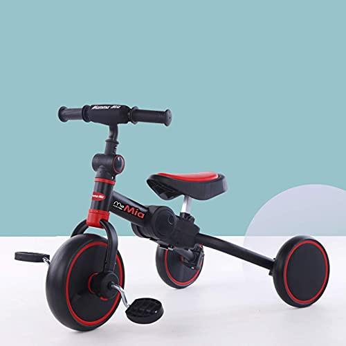 LINQ Trikes Childs - 2 en 1 Truco, Asiento Ajustable, Marco de Acero de Alto Carbono, Adecuado para niños de 1 a 6, Blanco (Color : Red)